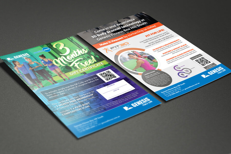 Genesis Fitness A5 flyer graphic design